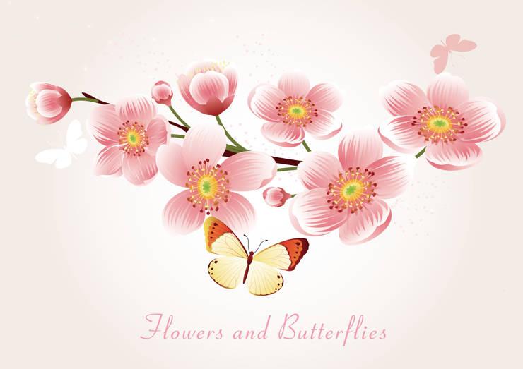 꽃과 나비: angelkk의  벽 & 바닥