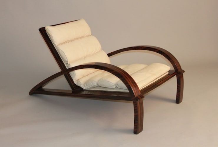 Ulrich Macassar ebony lounge chairs with leather upholstery. Italian, 1950:  Living room by De Parma