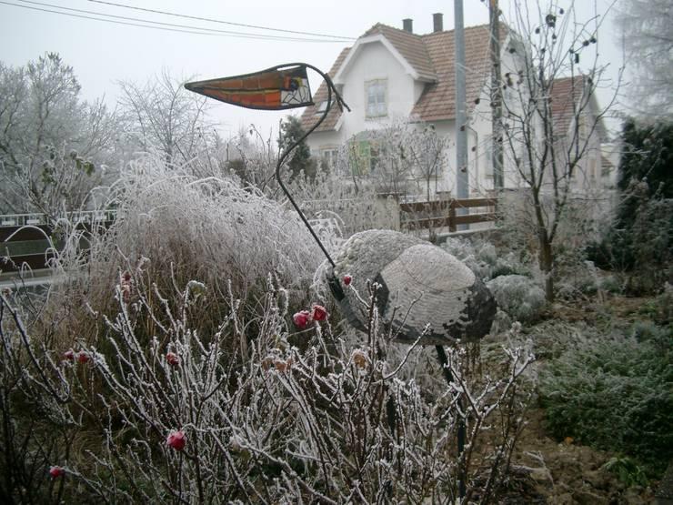 Héron en hiver: Terrasse de style  par monique bornert