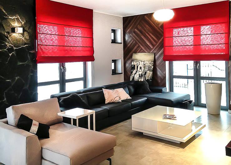 nowoczesny dom z czerwienią: styl , w kategorii Salon zaprojektowany przez Inspiration Studio