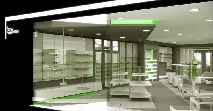 Concepto para Hair Center Rui Romano Lisboa (comercio de artículos de peluquería & estética): Espacios comerciales de estilo  de AG INTERIORISMO