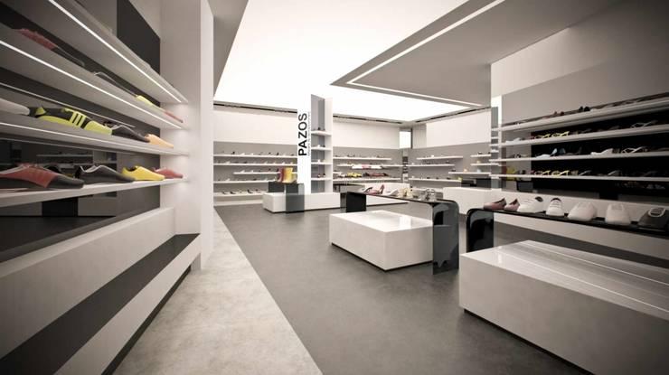 Concepto para zapatería Pazos Granada: Espacios comerciales de estilo  de AG INTERIORISMO