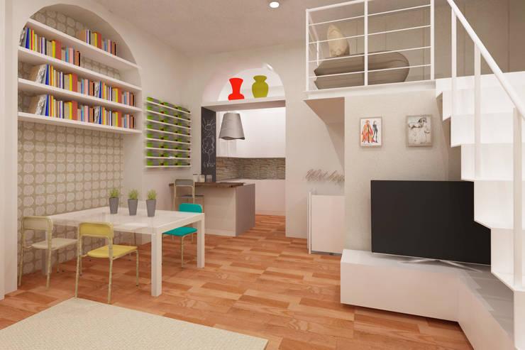 living con cucina a vista: Sala da pranzo in stile  di Azzurra Lorenzetto