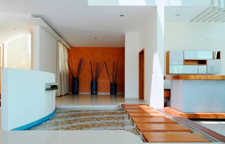 RESIDENCIA NUÑO: Pasillos y recibidores de estilo  por Excelencia en Diseño