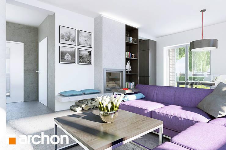 Dom w godecjach - projekt autorstwa ARCHON+ Biuro Projektów: styl , w kategorii Salon zaprojektowany przez ArchonHome.pl