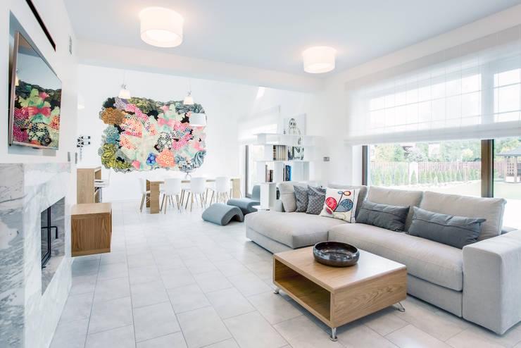 k o l o r   w e   w n ę t r z u: styl , w kategorii Salon zaprojektowany przez DK architektura wnętrz