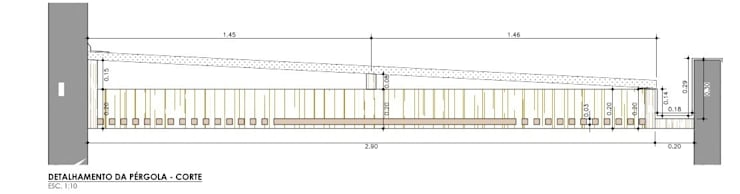 Corte Pérgola:   por Raquel Pelosi Arquitetura e Design Visual