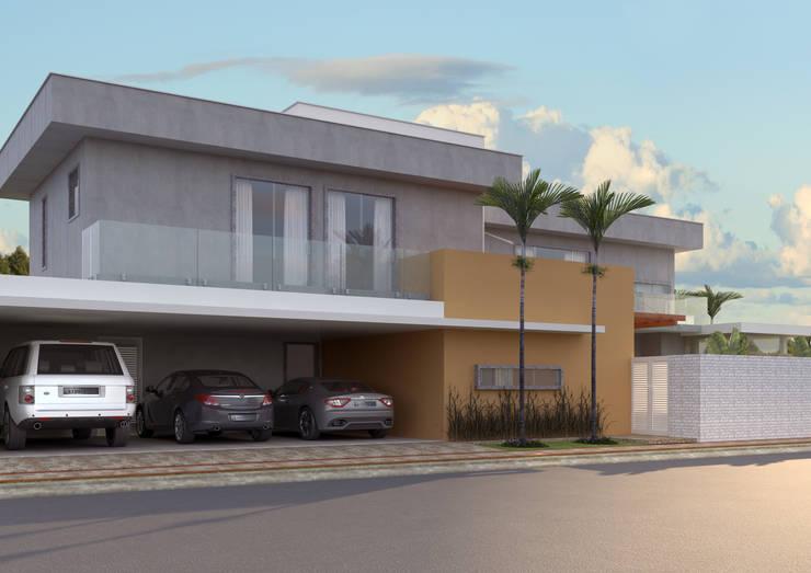 FACHADA ACESSO PRIVADO: Casas  por Raquel Pelosi Arquitetura e Design Visual
