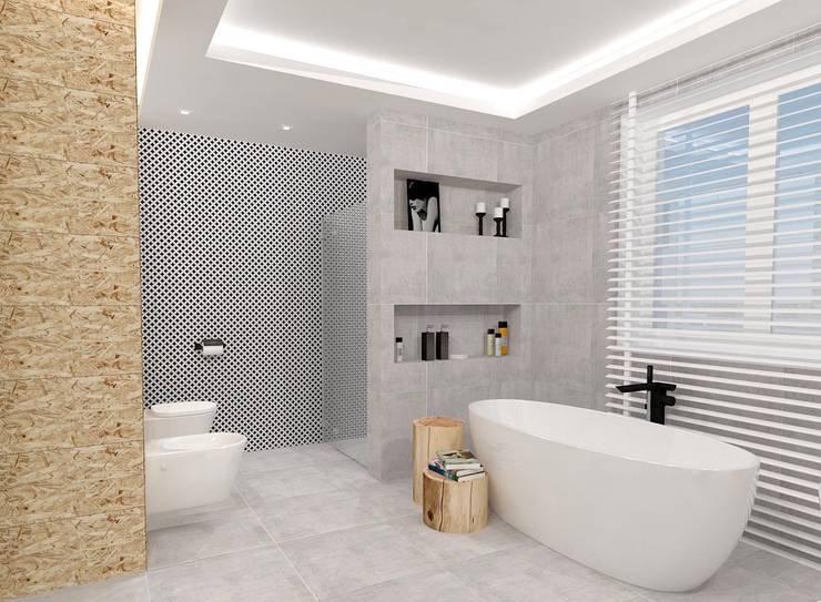 ŁAZIENKA ZIEŃ: styl , w kategorii Łazienka zaprojektowany przez WNĘTRZNOŚCI Projektowanie wnętrz i mebli