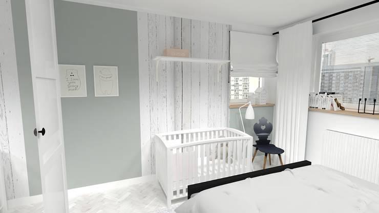 METAMORFOZA SYPIALNIA 14 m²: styl , w kategorii Sypialnia zaprojektowany przez WNĘTRZNOŚCI Projektowanie wnętrz i mebli
