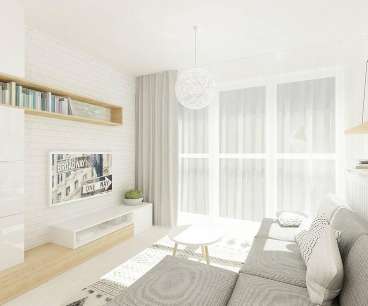 Skandynawskie biele i szarości.: styl , w kategorii Salon zaprojektowany przez 4ma projekt