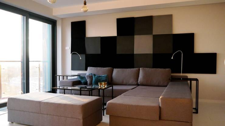 Cube w realizacji Fluffo: styl , w kategorii Salon zaprojektowany przez FLUFFO fabryka miękkich ścian