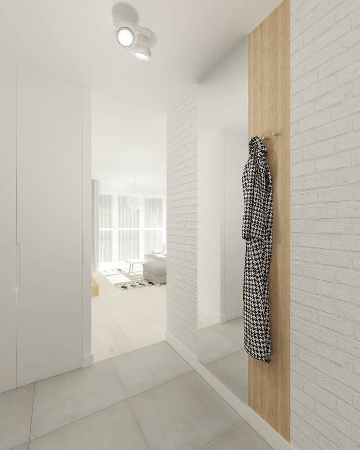 Skandynawskie biele i szarości.: styl , w kategorii Korytarz, przedpokój zaprojektowany przez 4ma projekt