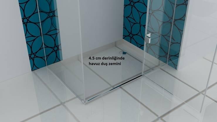 Erdem Duşakabin Tasarım Atölyesi – Teknesiz cam duşakabin uygulaması:  tarz Banyo, Modern