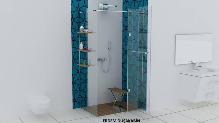Erdem Duşakabin Tasarım Atölyesi – Teknesiz cam duşakabin uygulaması:  tarz Banyo