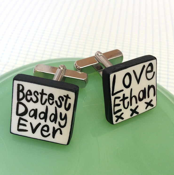 Bestest Daddy Personalised cufflinks:  Dressing room by Mary Fellows