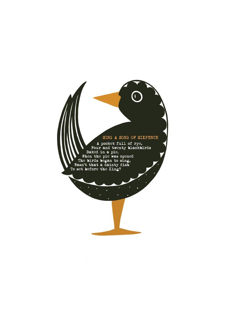 Black bird:  Nursery/kid's room by Mary Fellows