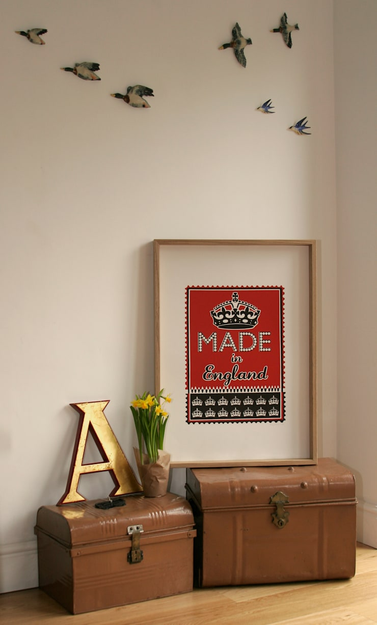 Made in England (red) Print:  Artwork by Mary Fellows