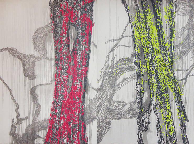 San33-122&123, acrylic on canvas, 193,9x130cm (2pcs), 2015: Kim Na Hyun 김나현의