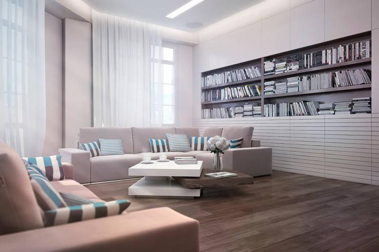 Гостиная с библиотекой: Гостиная в . Автор – Студия дизайна Interior Design IDEAS