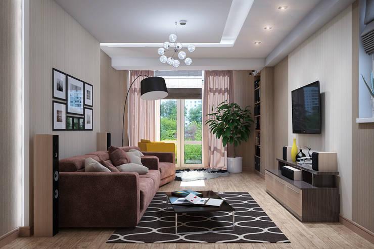 Желтые акценты в интерьере: Гостиная в . Автор – Студия дизайна Interior Design IDEAS