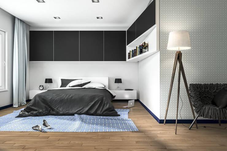 Przykładowa aranżacja wnętrza z użyciem flokowanych listew ApplyFlock: styl , w kategorii Ściany i podłogi zaprojektowany przez ApplyFlock