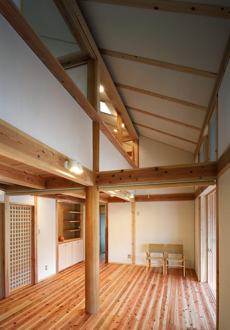 吹抜: 芦田成人建築設計事務所が手掛けたリビングです。,