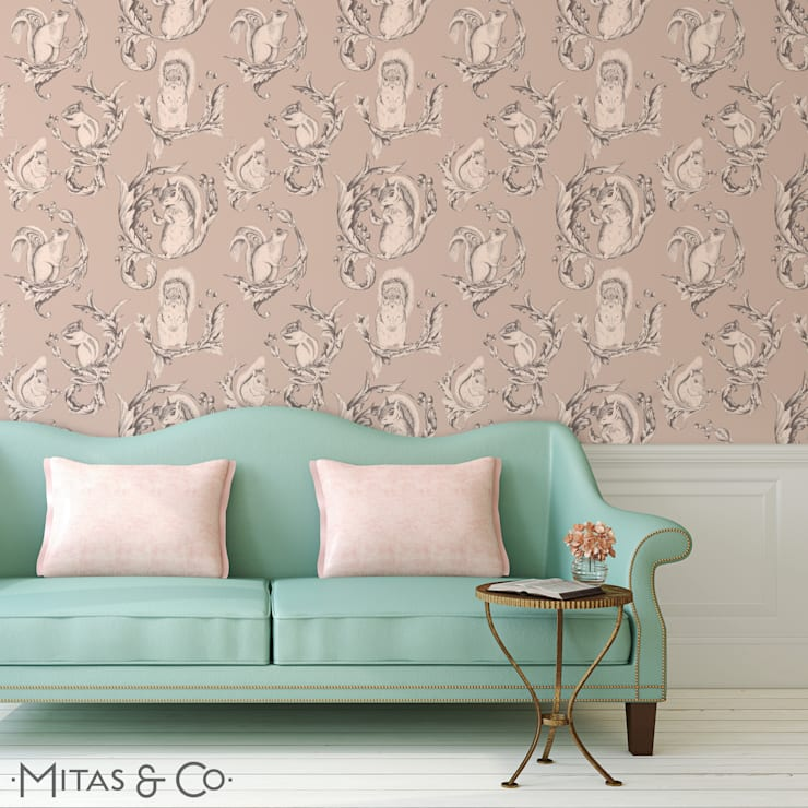 Squirrel Pose Wallpaper in Soft Sorbet:  Walls & flooring by Mitas & Co. Wallpapers & Textiles