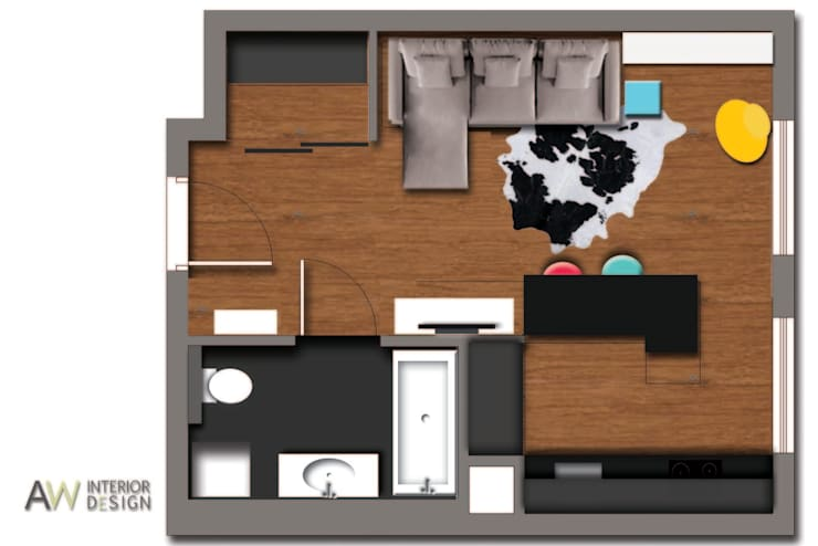 Kawalerka 29 m2 Kraków: styl , w kategorii  zaprojektowany przez AW INTERIOR DESIGN