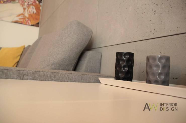 Kawalerka 29 m2 Kraków: styl , w kategorii Salon zaprojektowany przez AW INTERIOR DESIGN