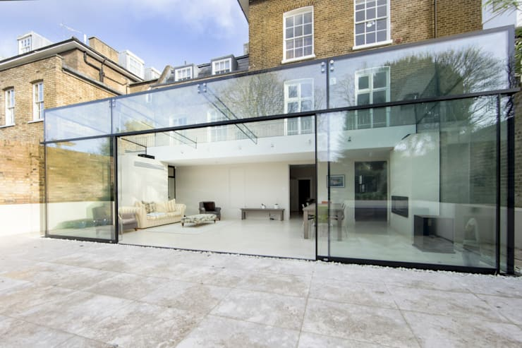 Barnes, London; Culmax Glass Box Extension and Maxlight Doors:  Conservatory by Maxlight