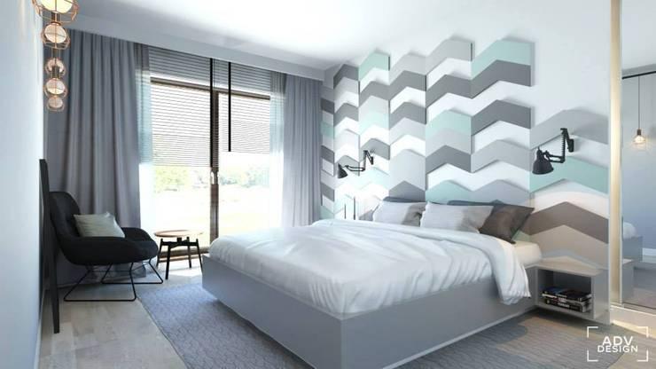Wizualizacja Fluffo Chevron w projekcie  ADV Design. : styl , w kategorii Sypialnia zaprojektowany przez FLUFFO fabryka miękkich ścian