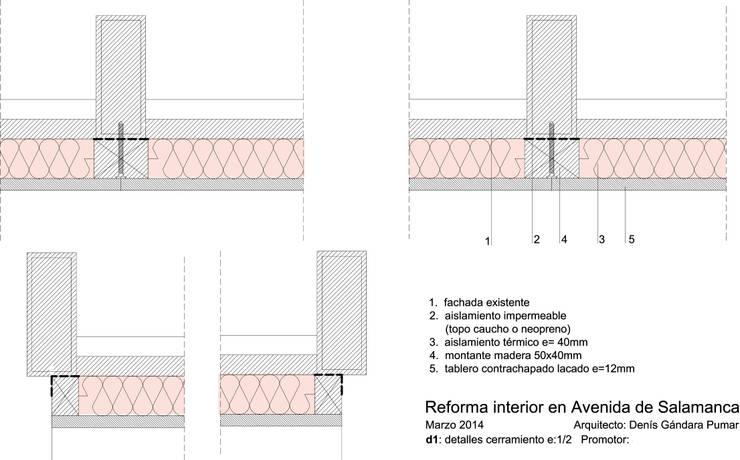 Detalle ventana en fachada:  de estilo  de Estudo de Arquitectura Denís Gándara