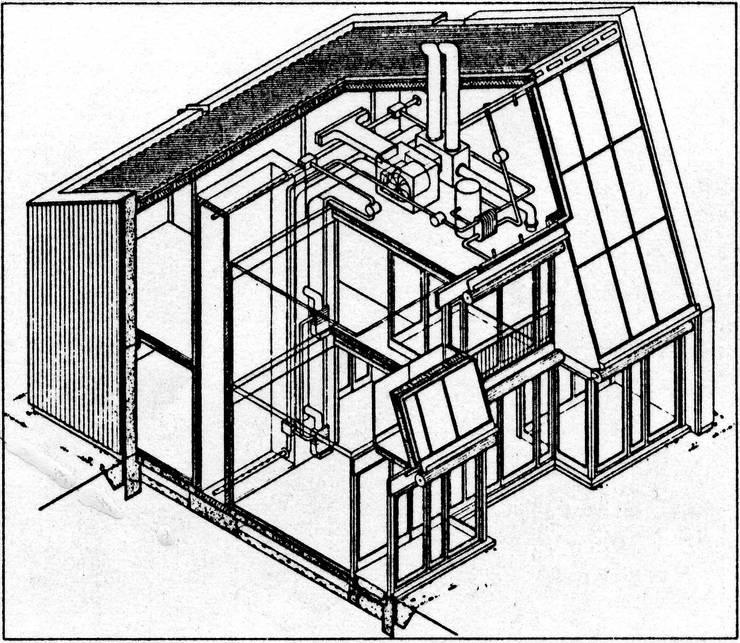 Münchner Öko-Solar-Demonstrationshaus, 1984:   von Architekturbüro Dipl.-Ing-Arch. Richard J. Dietrich
