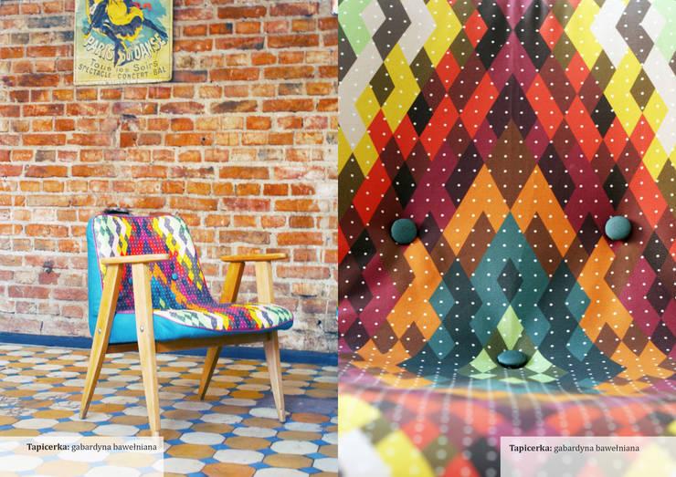 Odrestaurowany fotel, model 366: styl , w kategorii Salon zaprojektowany przez Wzory i Kolory