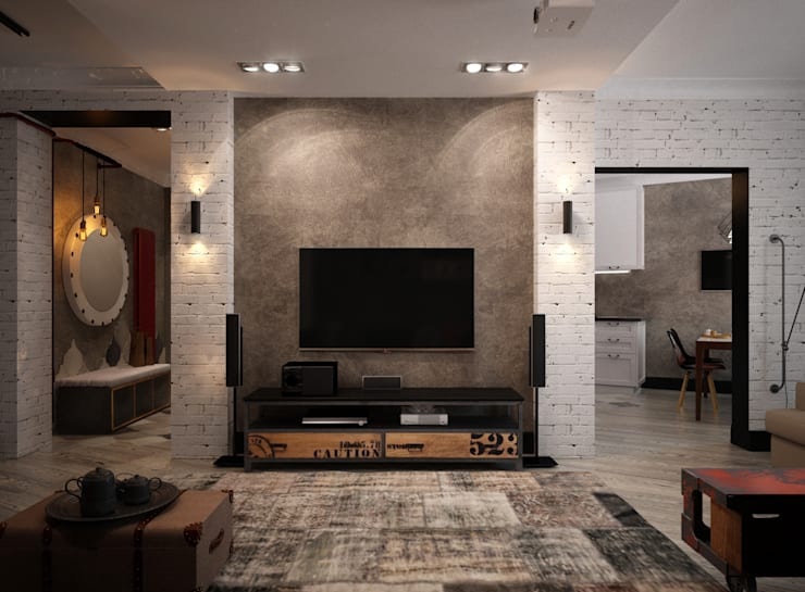 Projekty,  Salon zaprojektowane przez Reroom
