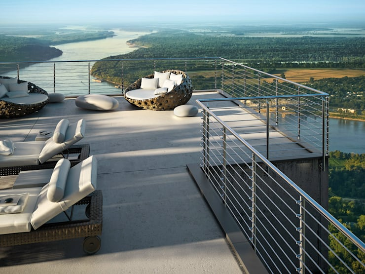 minimalistisch Balkon, veranda & terras door IAM Design