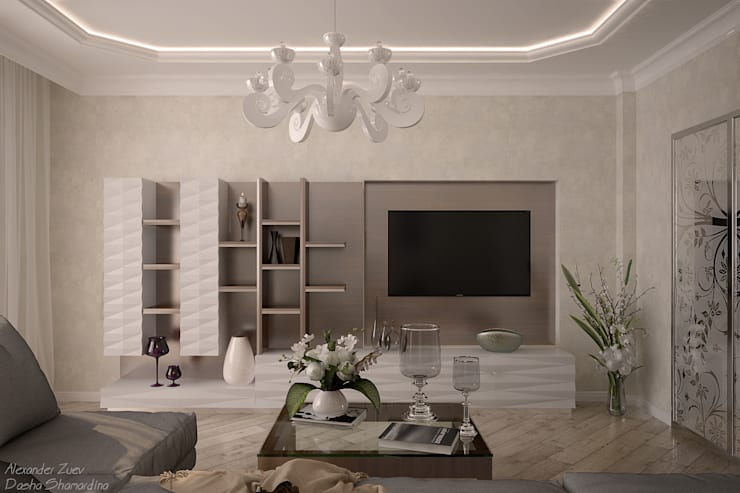 Ruang Keluarga oleh Студия интерьерного дизайна happy.design, Klasik