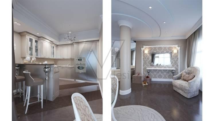 Дизайн коттеджа в коттеджном поселке «Эдельвейс»: Гостиная в . Автор – KV-Design