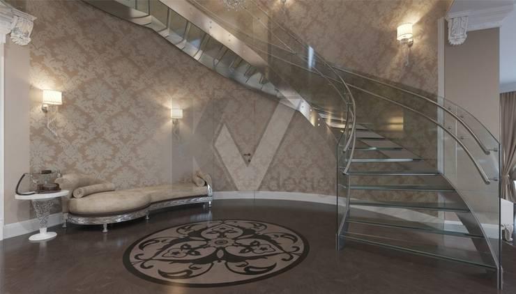 Дизайн коттеджа в коттеджном поселке «Эдельвейс»: Коридор и прихожая в . Автор – KV-Design