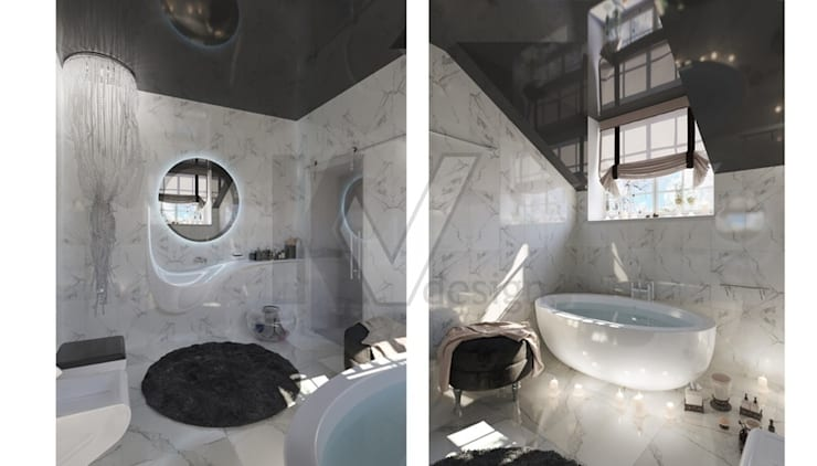 Дизайн коттеджа в коттеджном поселке «Эдельвейс»: Ванные комнаты в . Автор – KV-Design