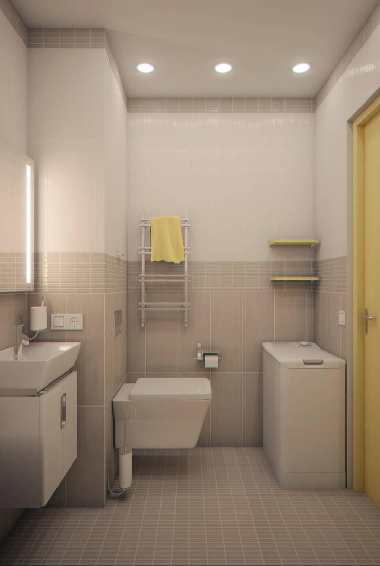 Yellow on grey: Ванные комнаты в . Автор – Marina Sarkisyan, Минимализм