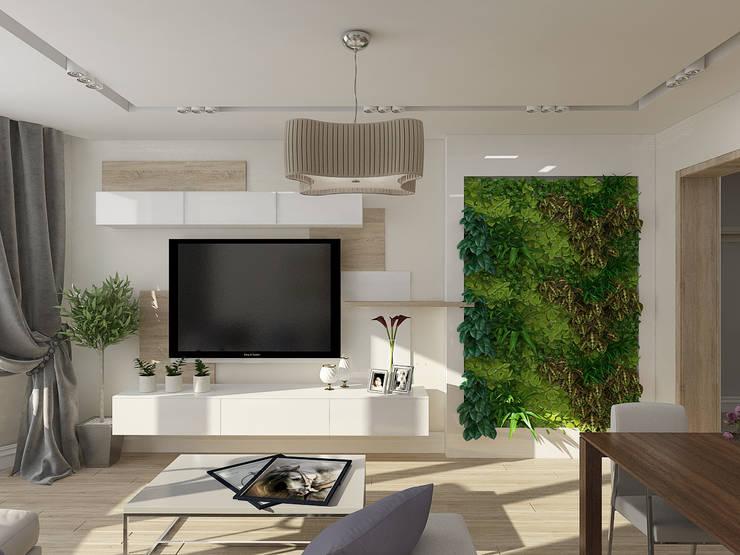 Трехкомнатная квартира в г.Мытищи: Гостиная в . Автор – EEDS design
