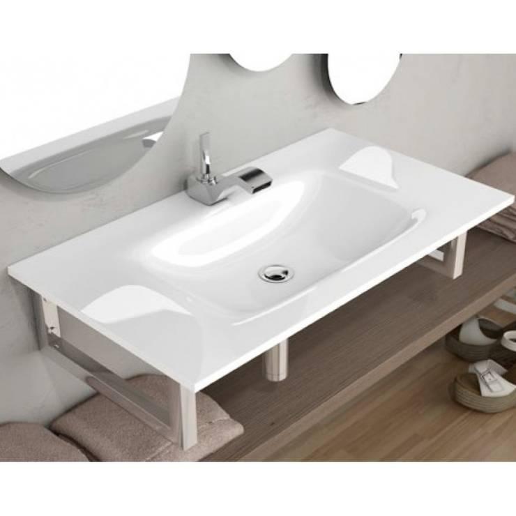 Lavabo sobre mueble fenix masas blanco: Baños de estilo moderno de The Bath