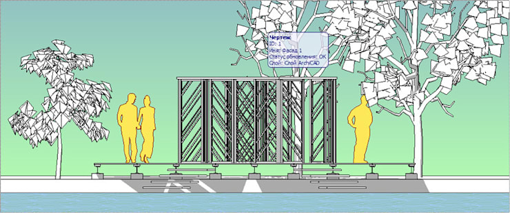 Развертка со стороны водоёма:  в . Автор – Бюро Акимова и Топорова