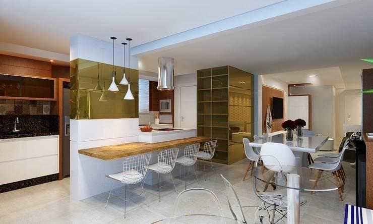 Cozinha Gourmet, Sala de Jantar e Estar: Cozinhas  por Eliegi Ambrosi Arquitetura e Design de Interiores,