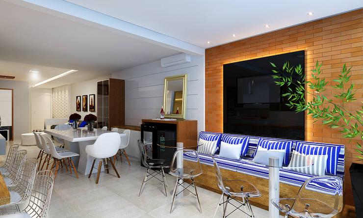 Cozinha Gourmet, Sala de Jantar e Estar: Salas de jantar  por Eliegi Ambrosi Arquitetura e Design de Interiores,