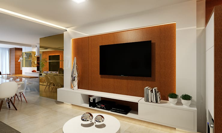 Cozinha Gourmet, Sala de Jantar e Estar: Salas de estar  por Eliegi Ambrosi Arquitetura e Design de Interiores,