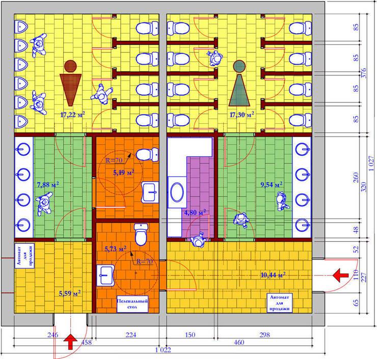 План туалета:  в . Автор – Бюро Акимова и Топорова
