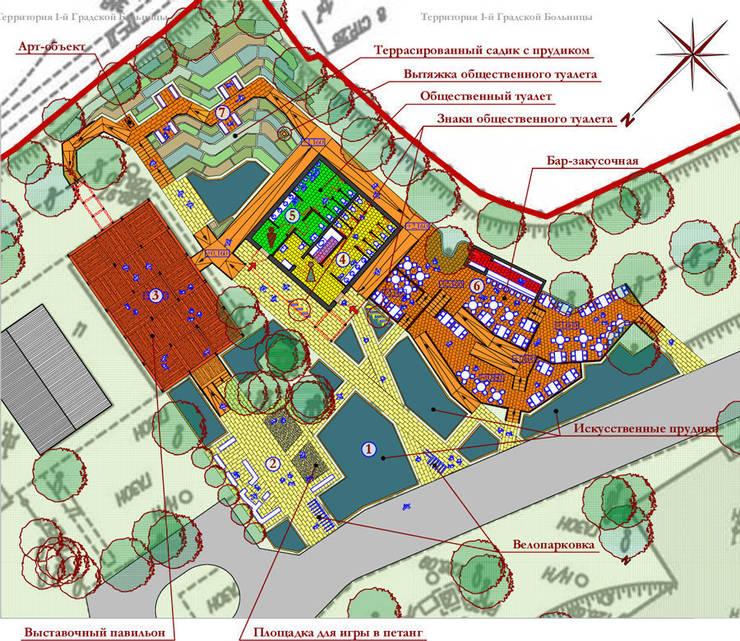 Планировка комплекса по нижнему уровню:  в . Автор – Бюро Акимова и Топорова